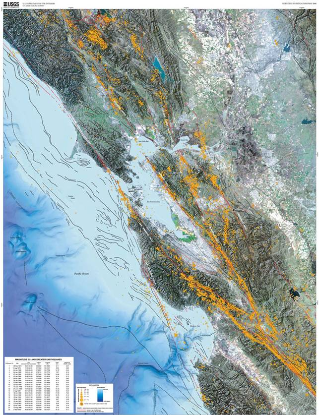 1906 Earthquake Map.San Francisco Bay Area Earthquakes