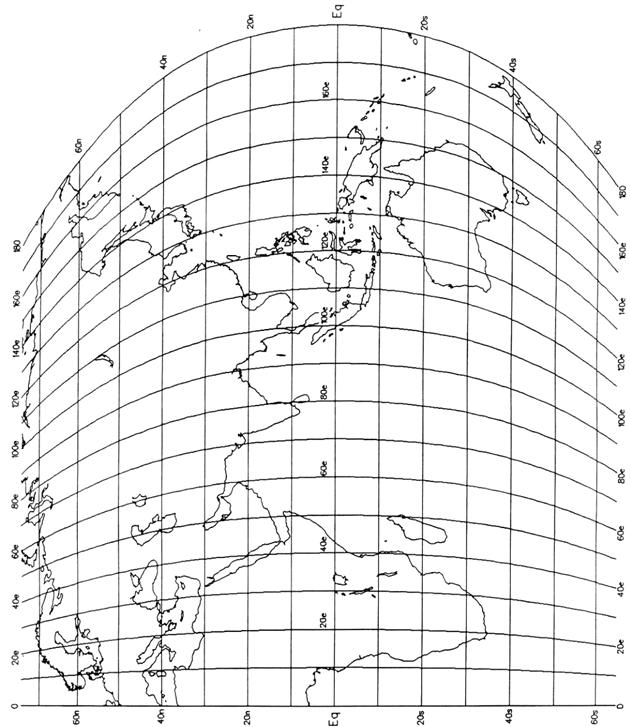 The heavy lines are the lines of longitude and latitude on the map.