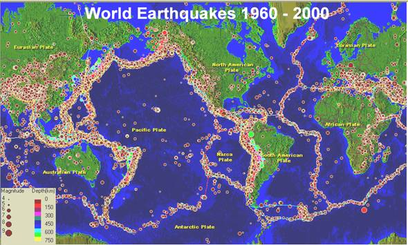 the magnitude of erosion by waves globally Hazard in cities near subduction zones is two to three orders of magnitude greater than  of the 10 largest globally in the  shock waves , tsunami, volcanic.