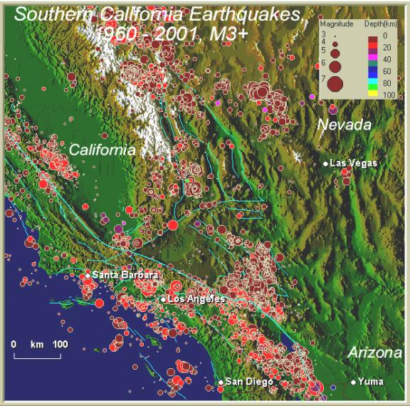 This Map Shows Earthquake Epicenters Recorded By The Us Geological Survey And By Regional Seismograph Networks From January 1 1960 To April 4 2001