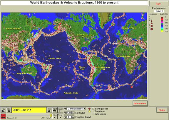Volcanic Activity Map Lessons, activities and demonstrations using the SeisVolE